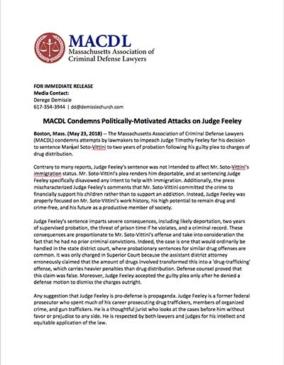 MACDL Condemns Politically-Motivated Attacks on Judge Feeley