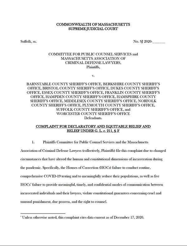HOCs COVID Complaint December 2020